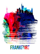 NAXART Studio - Frankfurt Skyline Brush Stroke Watercolor