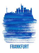 NAXART Studio - Frankfurt Skyline Brush Stroke Blue