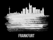 NAXART Studio - Frankfurt Skyline Brush Stroke White