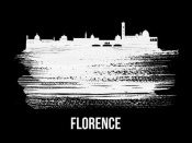 NAXART Studio - Florence Skyline Brush Stroke White