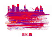 NAXART Studio - Dublin Skyline Brush Stroke Red