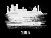 NAXART Studio - Dublin Skyline Brush Stroke White