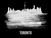 NAXART Studio - Toronto Skyline Brush Stroke White