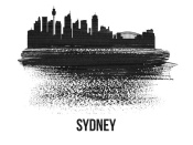 NAXART Studio - Sydney Skyline Brush Stroke Black II