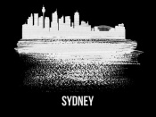 NAXART Studio - Sydney Skyline Brush Stroke White