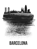 NAXART Studio - Barcelona Skyline Brush Stroke Black