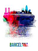NAXART Studio - Barcelona Skyline Brush Stroke Watercolor