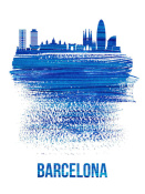 NAXART Studio - Barcelona Skyline Brush Stroke Blue