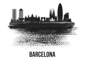 NAXART Studio - Barcelona Skyline Brush Stroke Black II