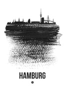 NAXART Studio - Hamburg Skyline Brush Stroke Black