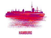 NAXART Studio - Hamburg Skyline Brush Stroke Red