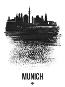 NAXART Studio - Munich Skyline Brush Stroke Black