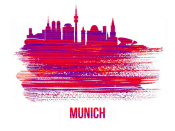 NAXART Studio - Munich Skyline Brush Stroke Red