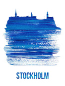 NAXART Studio - Stockholm Skyline Brush Stroke Blue
