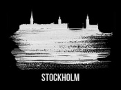 NAXART Studio - Stockholm Skyline Brush Stroke White