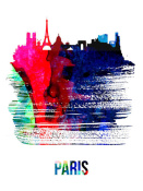 NAXART Studio - Paris Skyline Brush Stroke Watercolor