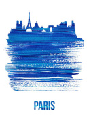 NAXART Studio - Paris Skyline Brush Stroke Blue