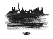 NAXART Studio - Paris Skyline Brush Stroke Black II