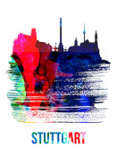 NAXART Studio - Stuttgart Skyline Brush Stroke Watercolor