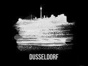 NAXART Studio - Dusseldorf Skyline Brush Stroke White