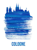 NAXART Studio - Cologne Skyline Brush Stroke Blue