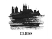 NAXART Studio - Cologne Skyline Brush Stroke Black II