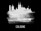 NAXART Studio - Cologne Skyline Brush Stroke White