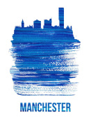 NAXART Studio - Manchester Skyline Brush Stroke Blue