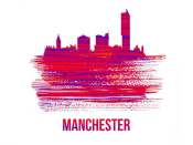 NAXART Studio - Manchester Skyline Brush Stroke Red