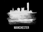NAXART Studio - Manchester Skyline Brush Stroke White