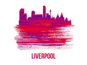 NAXART Studio - Liverpool Skyline Brush Stroke Red