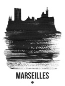 NAXART Studio - Marseilles Skyline Brush Stroke Black