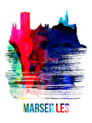 NAXART Studio - Marseilles Skyline Brush Stroke Watercolor