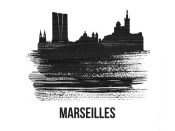 NAXART Studio - Marseilles Skyline Brush Stroke Black II