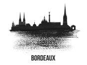 NAXART Studio - Bordeaux Skyline Brush Stroke Black II