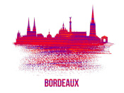 NAXART Studio - Bordeaux Skyline Brush Stroke Red