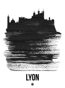NAXART Studio - Lyon Skyline Brush Stroke Black
