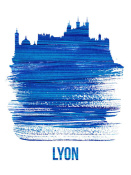 NAXART Studio - Lyon Skyline Brush Stroke Blue