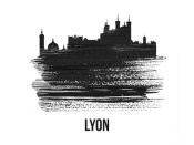 NAXART Studio - Lyon Skyline Brush Stroke Black II