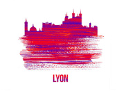 NAXART Studio - Lyon Skyline Brush Stroke Red