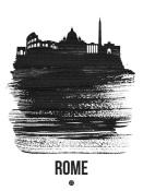 NAXART Studio - Rome Skyline Brush Stroke Black
