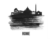 NAXART Studio - Rome Skyline Brush Stroke Black II
