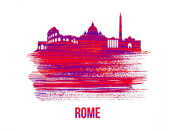 NAXART Studio - Rome Skyline Brush Stroke Red