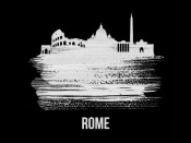NAXART Studio - Rome Skyline Brush Stroke White