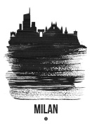 NAXART Studio - Milan Skyline Brush Stroke Black