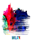 NAXART Studio - Milan Skyline Brush Stroke Watercolor