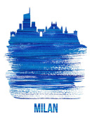NAXART Studio - Milan Skyline Brush Stroke Blue