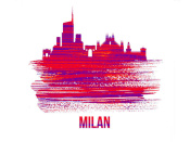 NAXART Studio - Milan Skyline Brush Stroke Red