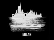 NAXART Studio - Milan Skyline Brush Stroke White