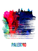NAXART Studio - Palermo Skyline Brush Stroke Watercolor